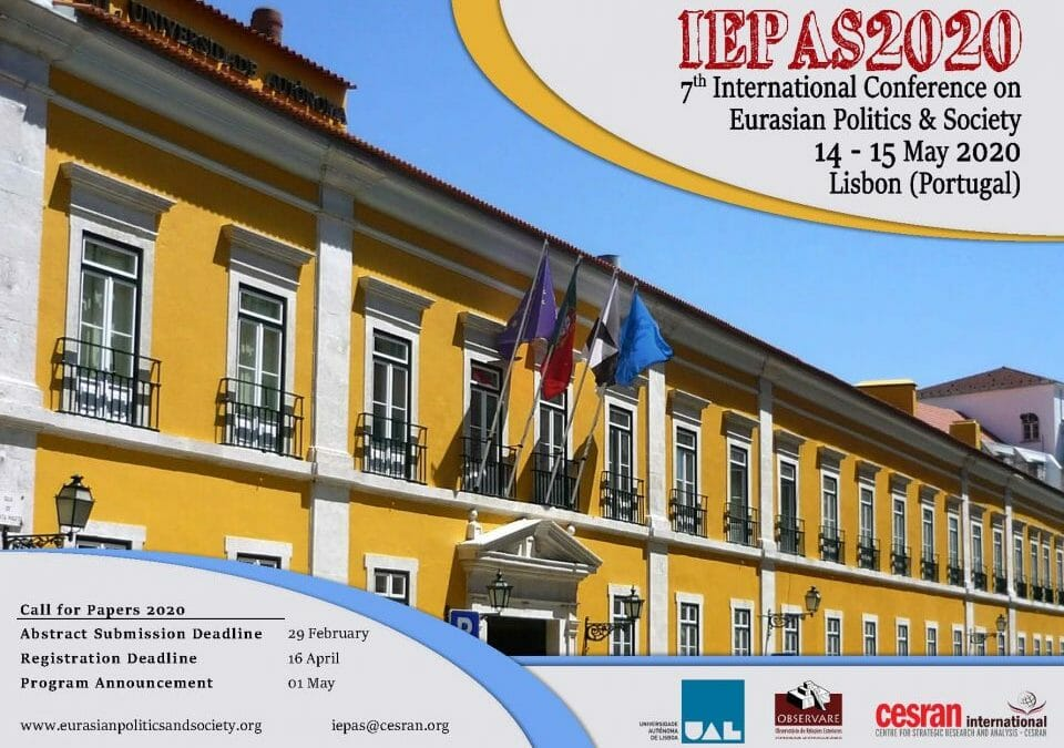 CALL FOR PAPERS – IEPAS2020, EURASIAN POLITICS & SOCIETY