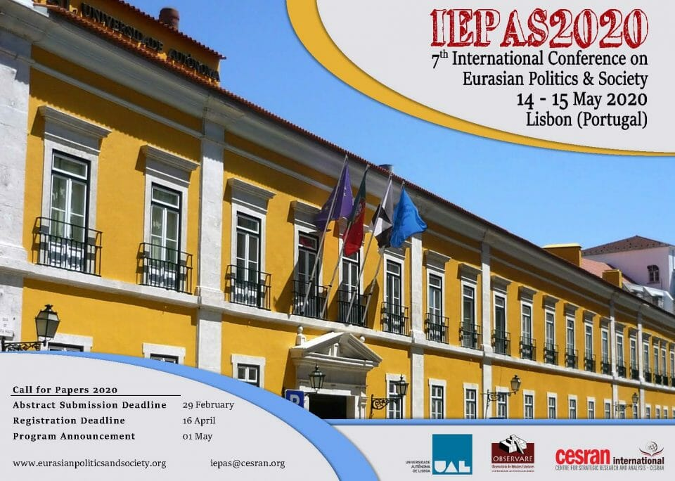 CALL FOR PAPERS – IEPAS 2020, EURASIAN POLITICS & SOCIETY